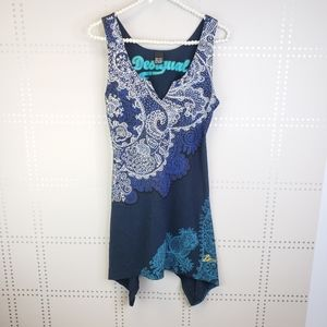 Desigual Navy floral design with Shark Bite Hem